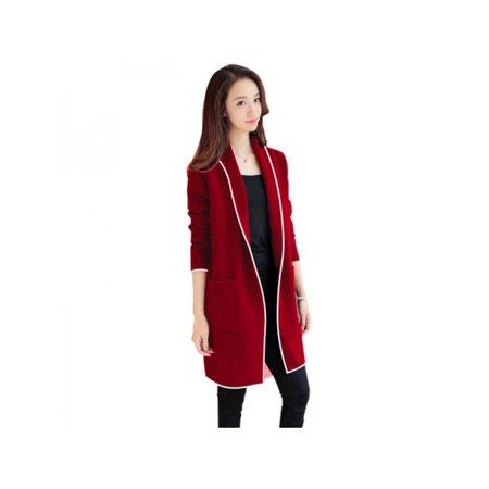 (Ropalia Women's Lapel Casual Plus Velvet Jacket Long Sleeve Cardigan Warm Fleece Coat Female Outerwear)