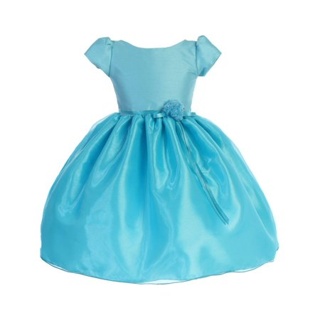 Turquoise Flower Girl Dresses (Little Girls Turquoise Dupioni Organza Floral Bow Flower Girl)