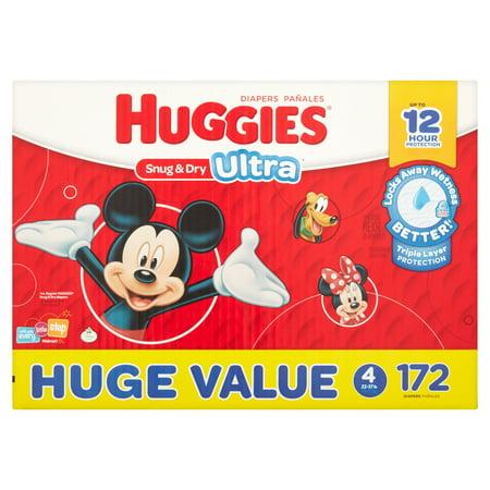 HUGGIES Snug & Dry Ultra, Size 4 (Choose Diaper Count)
