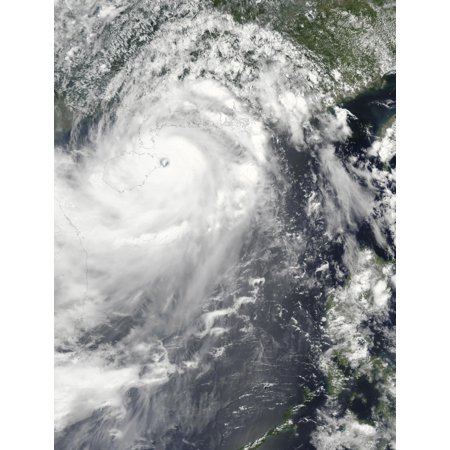 July 18 2014 - Satellite view of Typhoon Rammasun off the coast of northern Hainan It is surrounded by bands of thunderstorms stretching across the South China Sea and the Gulf of Tonkin Poster Print (Typhoon Band)
