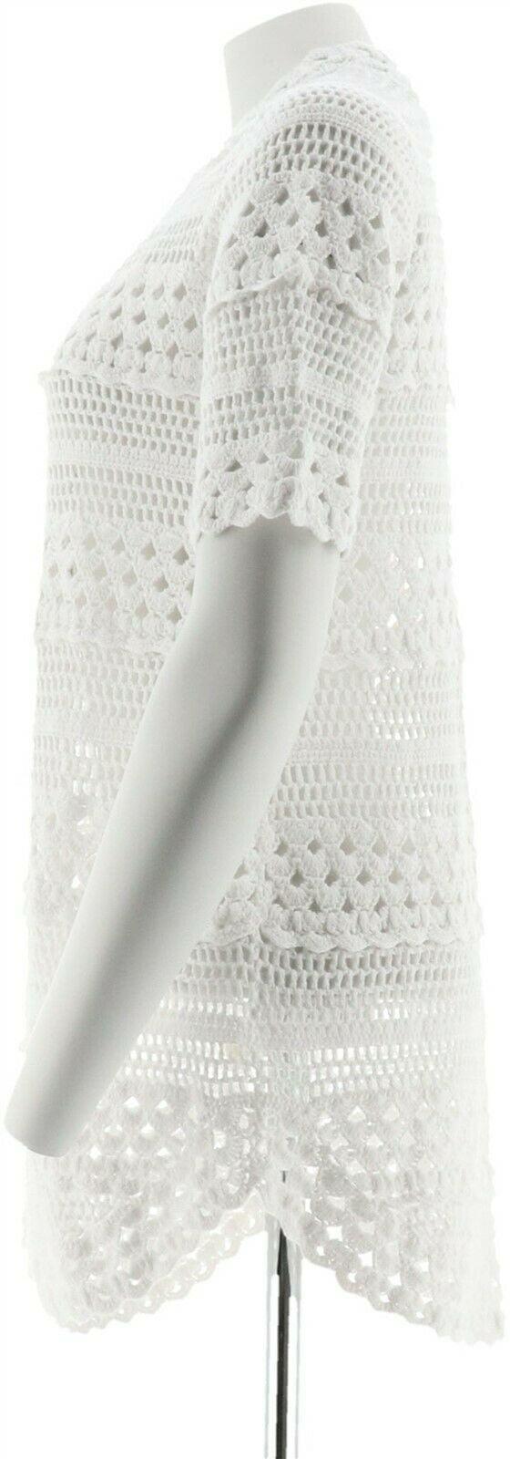 Isaac Mizrahi Hand Crochet Open Front Cardigan Bright White 1X NEW A306443