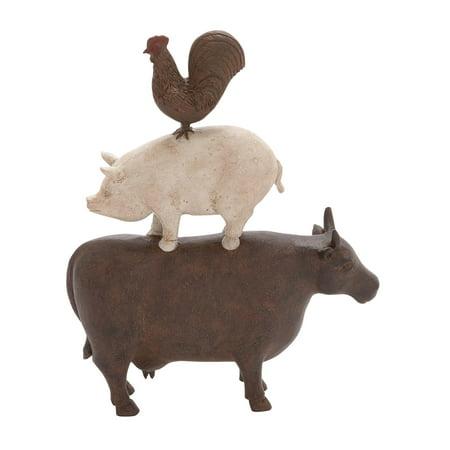 Decmode Farmhouse 14 X 10 Inch Stacked Farm Animals Polystone Sculpture