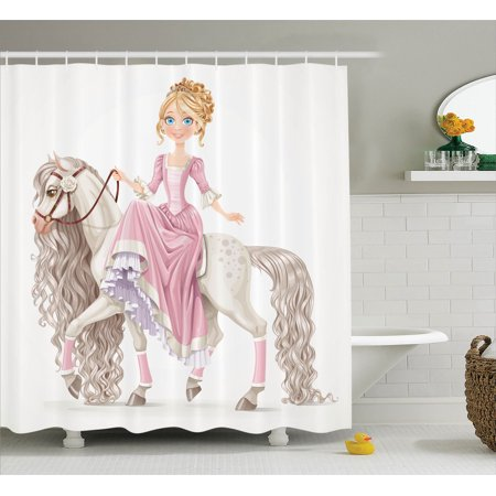 Teen Girls Decor Shower Curtain Set Pretty Smiling Princess On A White Horse With A Long Mane