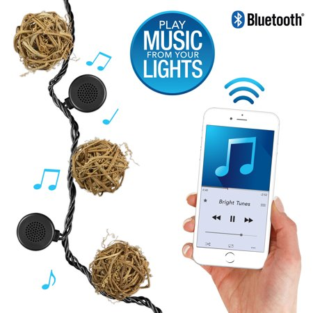 Bright Tunes Indoor/Outdoor White LED's with Decorative Rattan Globe String Lights with Bluetooth Speakers, Black Cord