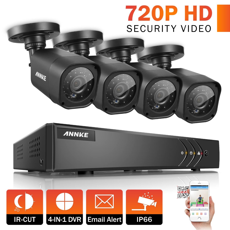 ANNKE Security Camera System  16CH TVL 1080P Video Surveillance kits 4Pcs 720P AHD Weatherproof Outdoor CCTV Camera(0-NO HDD,2-2TB HDD)
