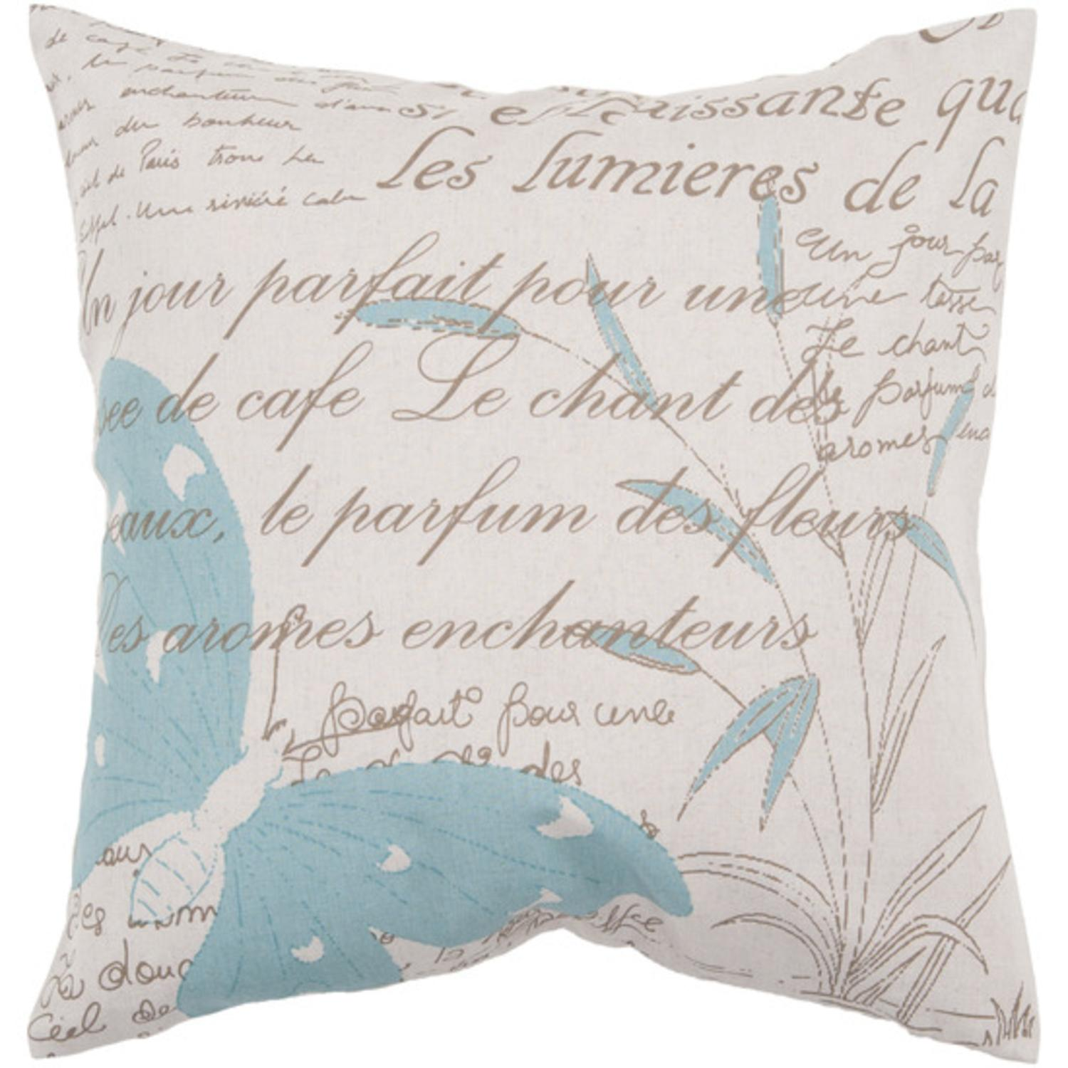 "18"" Ivory Butterfly and Cattail with French Text Decorative Throw Pillow"
