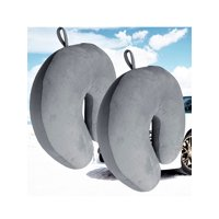 2 Pack Ultralight Micro Beads U Shaped Neck Pillow Travel Head Cervical Support Cushion Gray