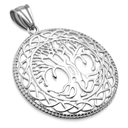 Stainless Steel Cut-Out Bodhi Tree of Life Celtic Knot Medallion Round Circle Pendant Necklace