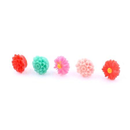 Flower Shaped Head Mobile Cell Phone Earphone Jack Anti Dust Ear Cap 5pcs ()