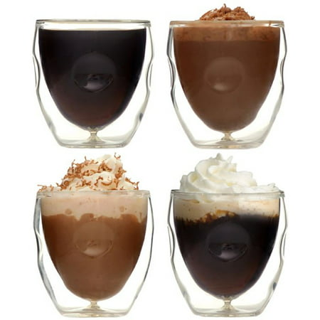 Moderna Artisan Series Double Wall 2 oz Beverage & Espresso Shot Glasses - Set of 4 Drinking Glasses ()