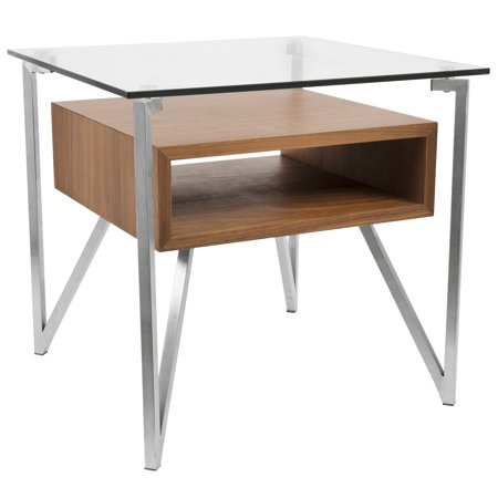 Hover Contemporary End Table with Brushed Stainless Steel Frame, Walnut Wood Shelf, and Clear Glass Top by