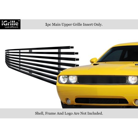 Compatible with 2009-2014 Dodge Challenger Black Stainless Steel Billet Grille Grill Insert - Dodge Grill Inserts