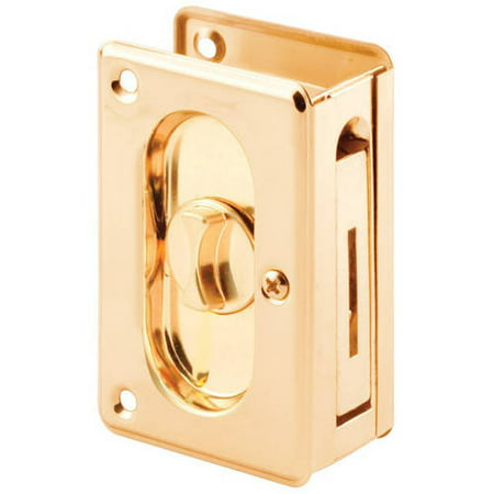 Prime-Line Products N 7365 Pocket Door Privacy Lock with Pull, 3-3/4-Inch, Polished Brass