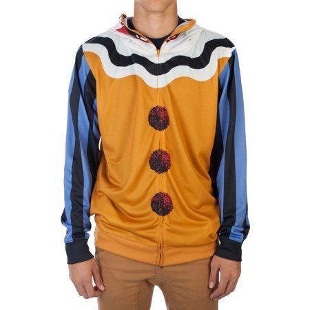BioWorld Scary Clown Men's Halloween Costume Hoodie (Scary Eyes Halloween Makeup)