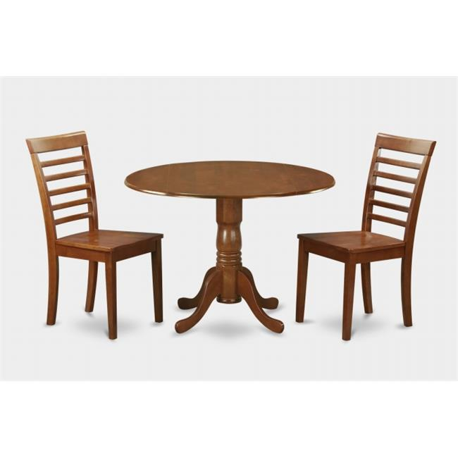 3PC Kitchen Round Table with 2 Drop Leaves and 2 Ladder-back Chairs with wood Seat