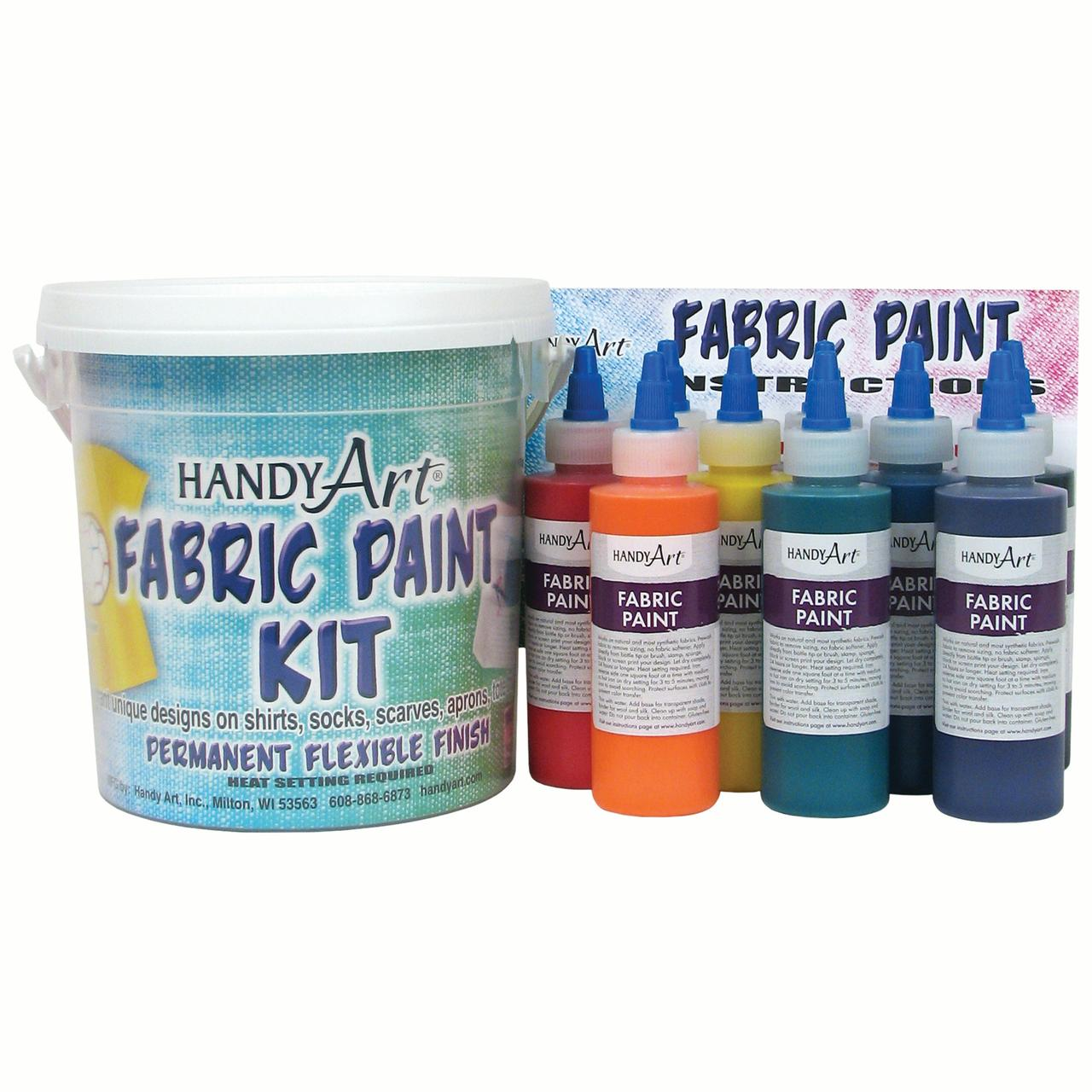 Handy Art® by Rock Paint Fabric Paint, Regular Colors, Nine 4 oz bottles