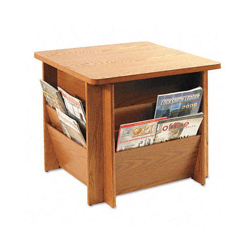 Buddy Products Reception Table, Square, 23-1/4w x 23-1/4d x 21h, Medium Oak