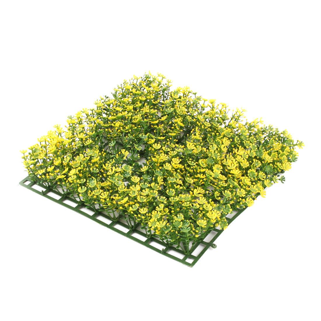 Aquarium Fish Tank Plastic Grass Plant Lawn Landscape Ornament Yellow Green