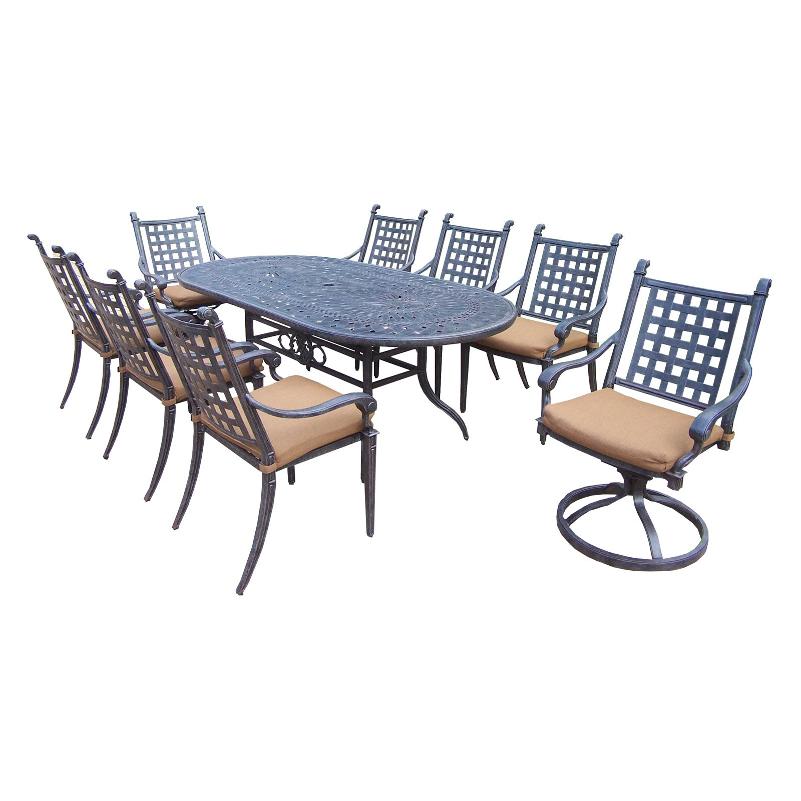 Oakland Living Belmont 9 Piece Oval Patio Dining Room Set by Oakland Living