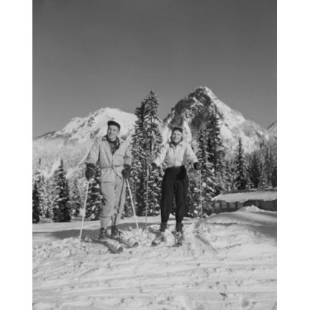 - USA Washington Cascade Mountains young couple on skis Stretched Canvas -  (18 x 24)