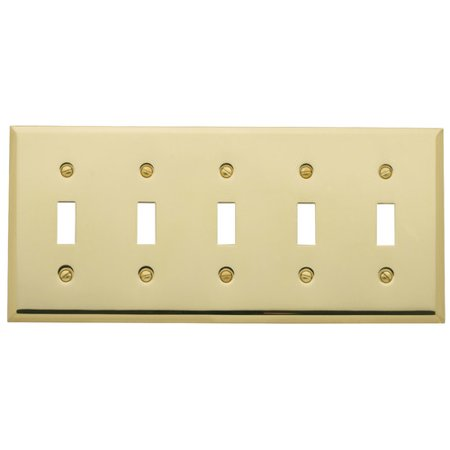 Baldwin Classic Square Bevel Design Five Gang Toggle Switch Plate