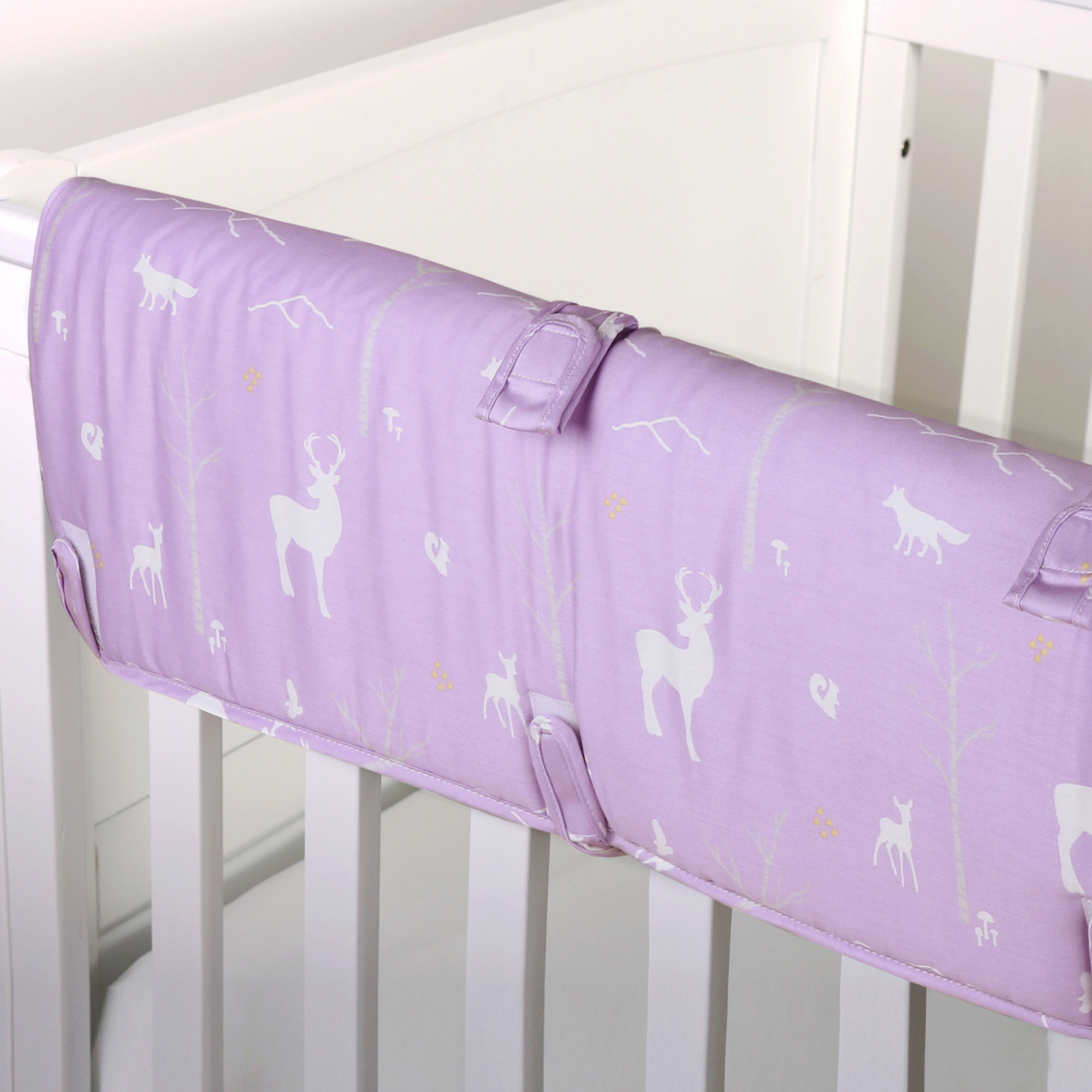 The Peanut Shell Baby Crib Rail Guard - Purple Woodland Forest Animal Print - 100% Cotton Sateen Cover, Polyester Fill