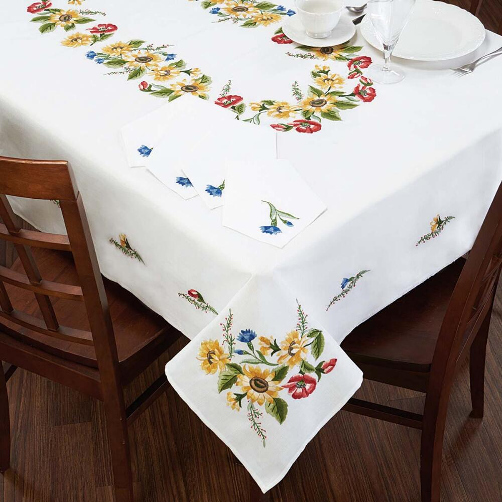 Nob Hill Sunflower Wreath Table Linens Stamped Embroidery