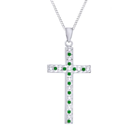Simulated Green Emerald Cz   Natural Diamond Cross Pendant Necklace In 14K Gold Over Sterling Silver