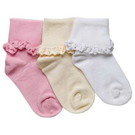 Tic Tac Toe Cotton Cluny Lace Turn Cuff Ankle Girl Dress Socks 1 Pair (8-9 1/2, White) for $<!---->