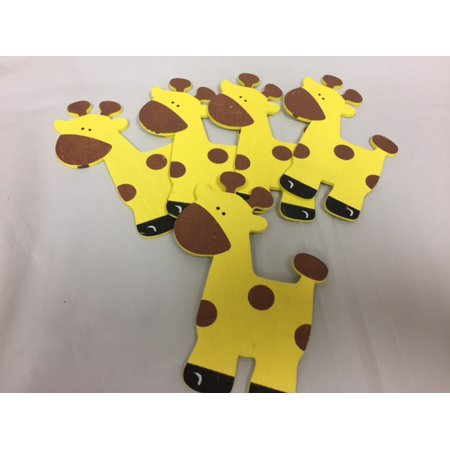 Charmed Wooden Animal Ornaments Giraffe for Safari / Jungle Themed, Baby Room Decor, 5 Pieces - Safari Theme Decor