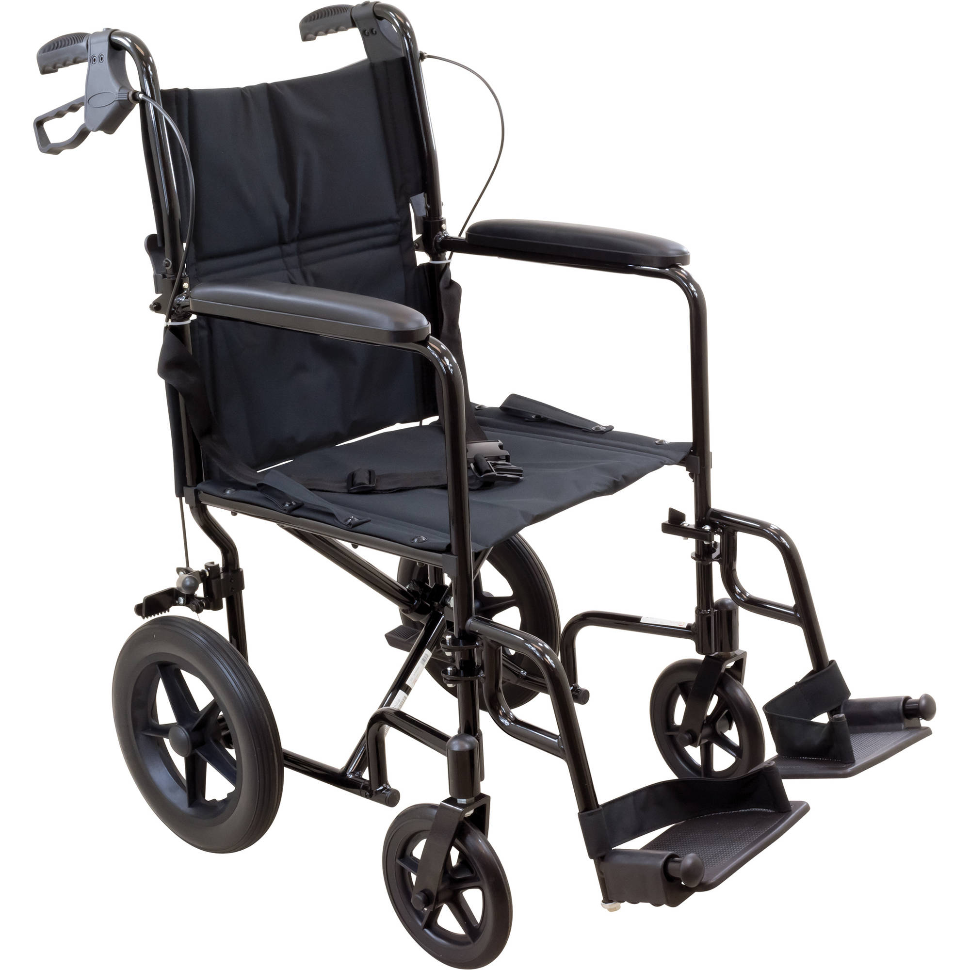 "Roscoe Transport Wheelchair with 12"" Rear Wheels and 19"" Seat, Blue"