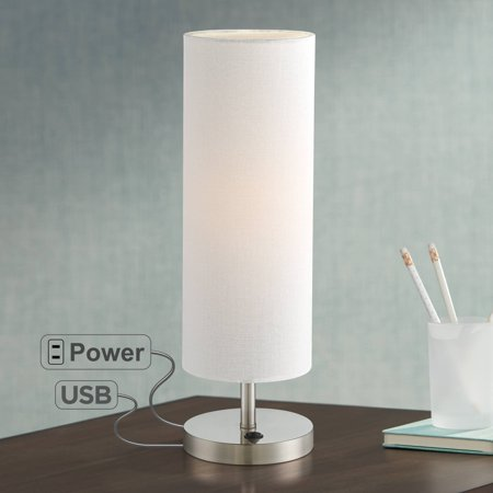 Incredible 360 Lighting Modern Accent Table Lamp With Hotel Style Usb And Ac Power Outlet In Base Brushed Steel Off White Cylinder Shade For Living Room Download Free Architecture Designs Embacsunscenecom