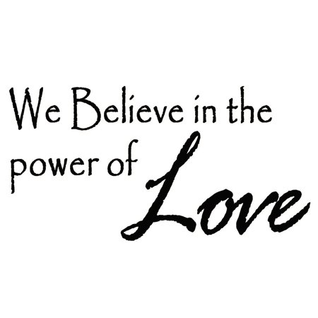 VWAQ We Believe in Power of Love Wall Decal Religious Quote Vinyl Wall Art Decal Home Decor Lettering Sayings