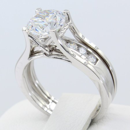 Setting Channel Set (2.00 Ct 14K Real White Gold Round Cut with Round Channel Set Matching Band 4 Prong Trellis Setting Fancy Engagement Wedding Bridal Propose Promise Duo 2 Piece Ring)