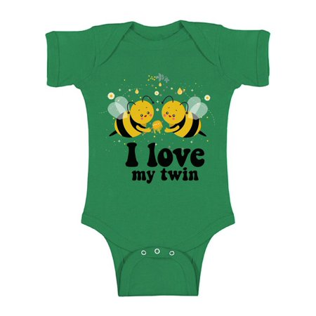Awkward Styles Twin Bodysuit Short Sleeve for Newborn Baby Cute Twins Gifts for 1 Year Old I Love My Twin One Piece Top for Baby Boy I Love My Twin One Piece Top for Baby Girl Birthday Party