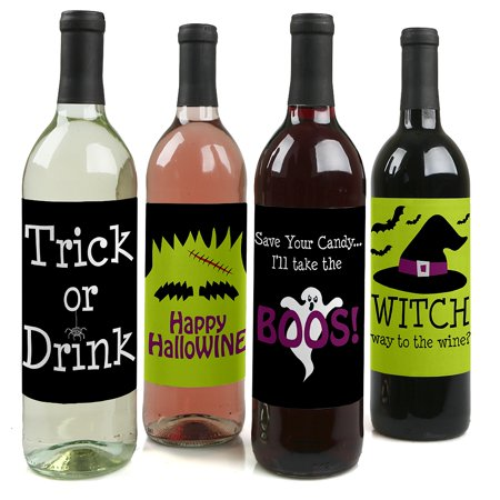 Trick or Treat - Halloween Party Decorations for Women and Men - Wine Bottle Label Stickers - Set of 4 (Printable Halloween Treat Labels)
