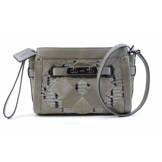 800957e9051 COACH Swagger Wristlet Crossbody Clutch Patchwork Exotic Embossed ...
