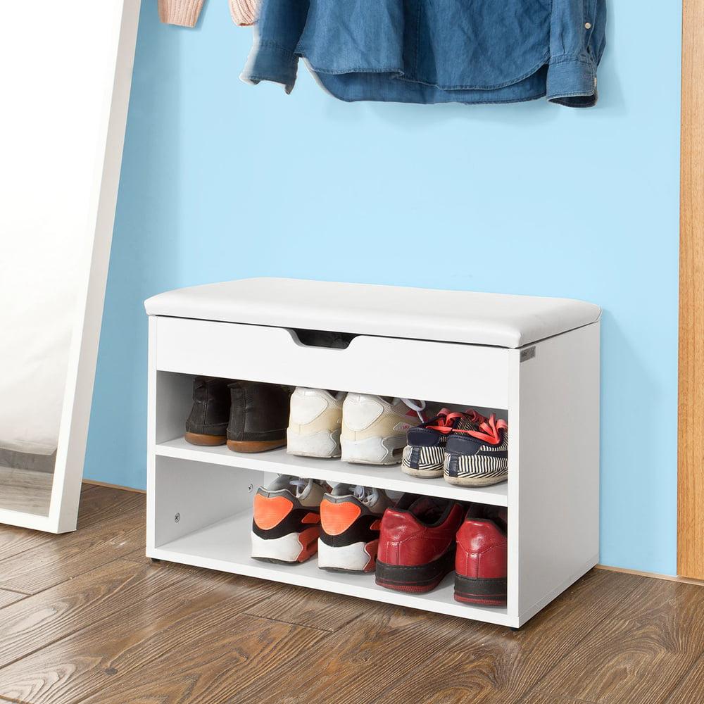 SoBuy FSR25-W Wooden Shoe Cabinet 2 Tiers Shoe Storage Bench Shoe Rack with Folding Padded Seat 60x30x44cm White - Walmart.com & SoBuy FSR25-W Wooden Shoe Cabinet 2 Tiers Shoe Storage Bench Shoe ...
