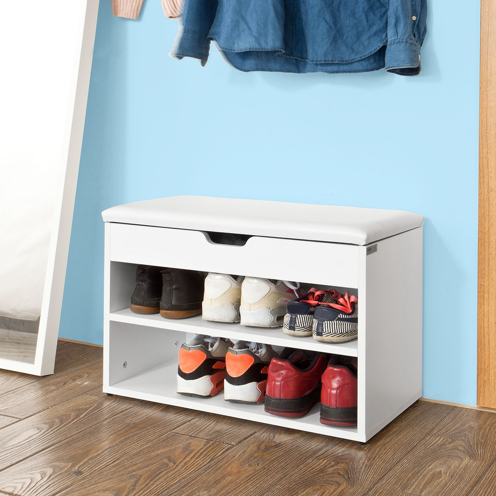 SoBuy FSR25 W, Wooden Shoe Cabinet, 2 Tiers Shoe Storage Bench Shoe Rack