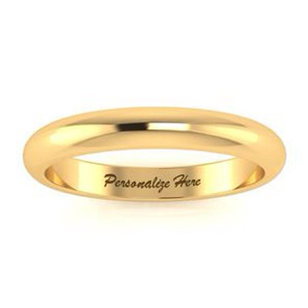 14K Yellow Gold 3MM Heavy Comfort Fit Ladies and Mens Wedding Band Size 15 Free Engraving