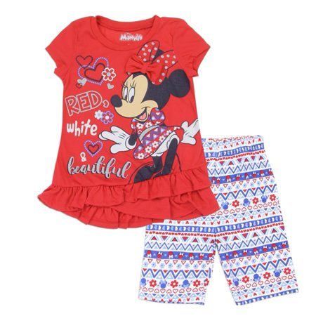 Disney Little Girls Red Minnie Ruffle Trim Bow Accent 2 Pc Shorts Outfit