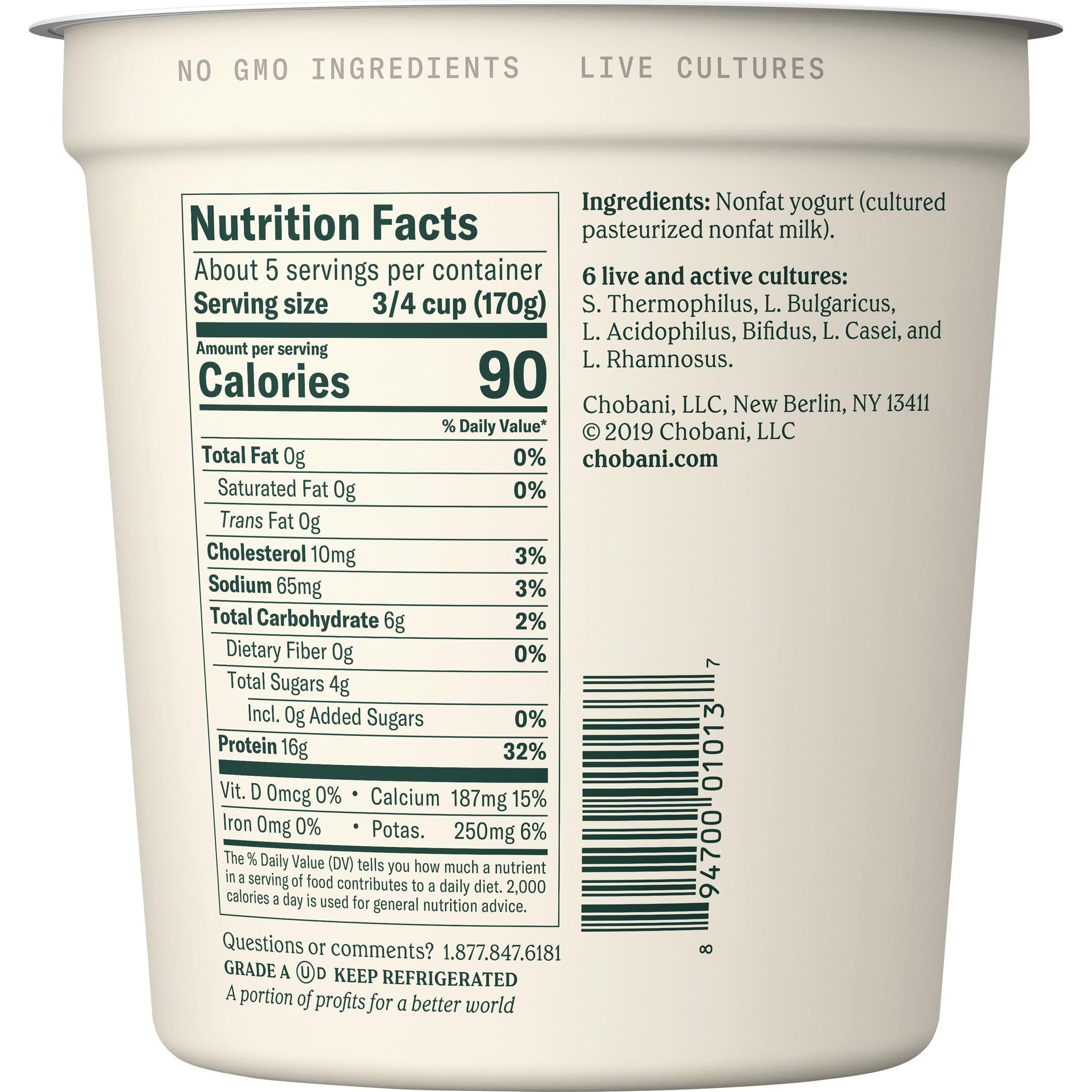 Chobani Nonfat Greek Yogurt Nutrition