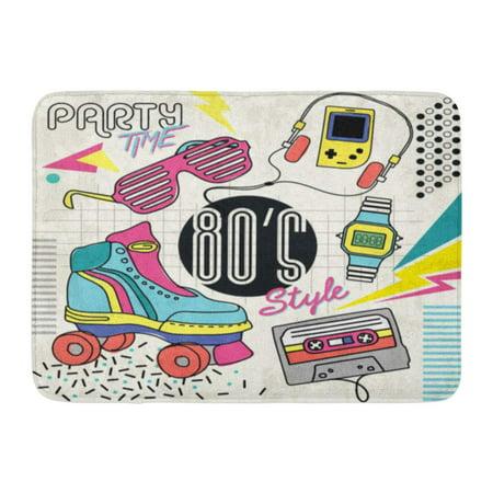 LADDKE Roller 80 Retro Colorful Vintage Graphic Eighties Easy Skate Glasses Doormat Floor Rug Bath Mat 23.6x15.7 inch - Eighties Glasses