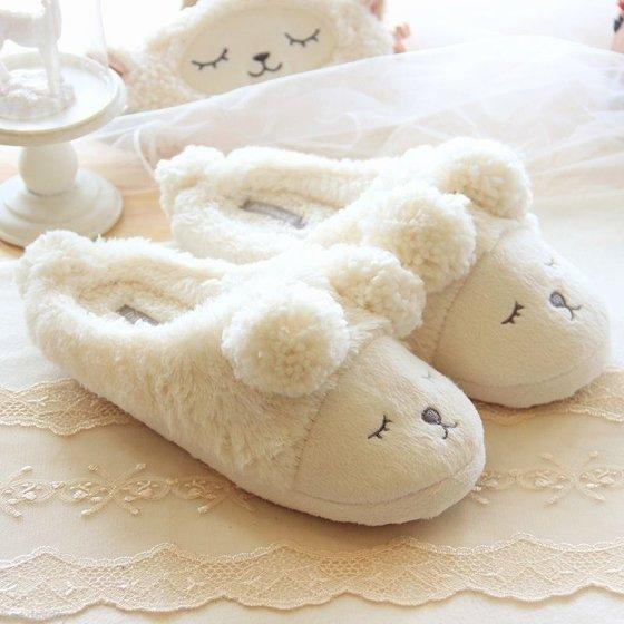 961c1e4ec Estink - Winter Warm Short Plush Indoor Slippers Cute Cartoon Sheep ...