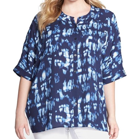 Sejour Nordstrom New Blue Womens Size 2X Plus Printed Button Down Shirt