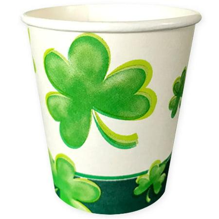 St. Patrick's Day 'Shamrocks Galore' 7oz Paper Cups - St Patricks Day Cups