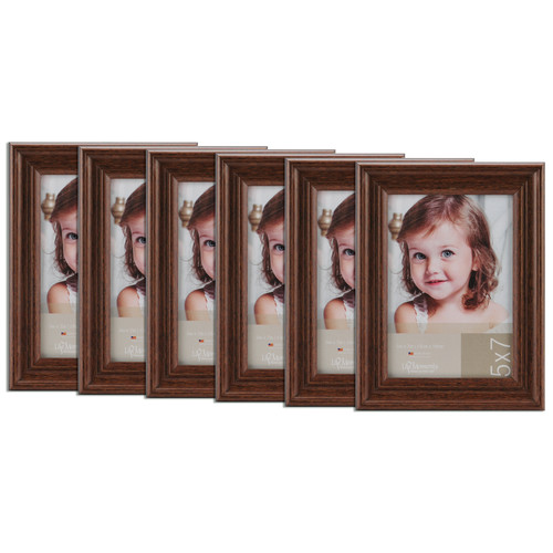 Pinnacle 5x7 Antique Wood Frame, Set of 6