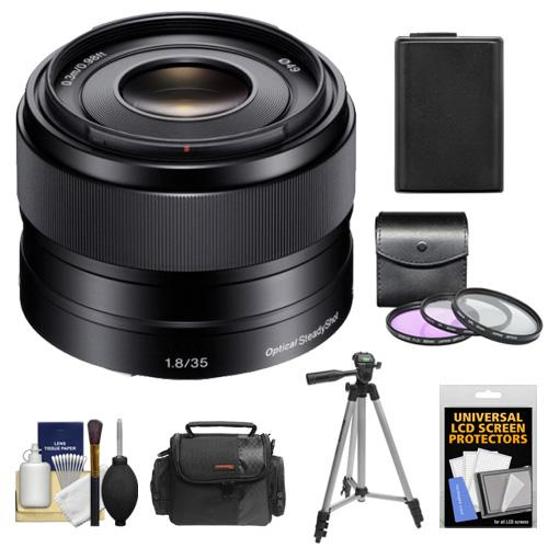 Sony Alpha E-Mount 35mm f/1.8 OSS Lens with Battery + Case + 3 Filters + Tripod + Kit for A7, A7R, A7S, A3000, A5000, A5100, A6000 Cameras