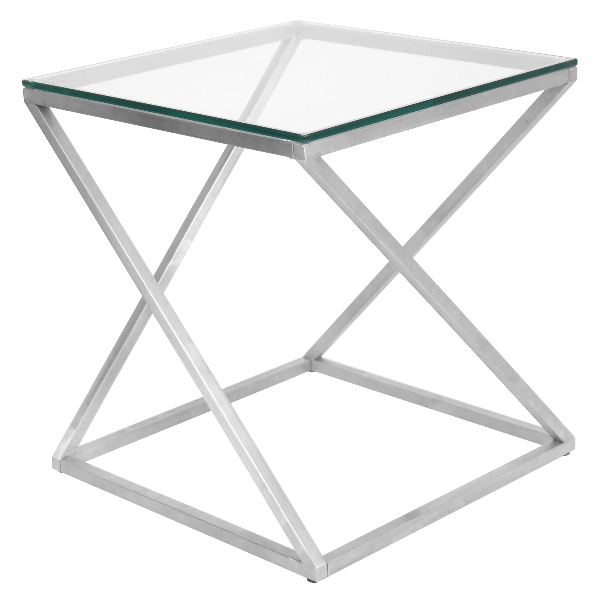 4Z Contemporary End Table in Stainless Steel with Clear Glass by Lumisource by LumiSource