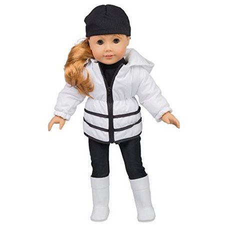 Winter Outfit for American Girl Dolls - 5 pc Clothes Set w Jacket, Shirt, Hat, Boots, and Leggings](Online Stores For Girls)